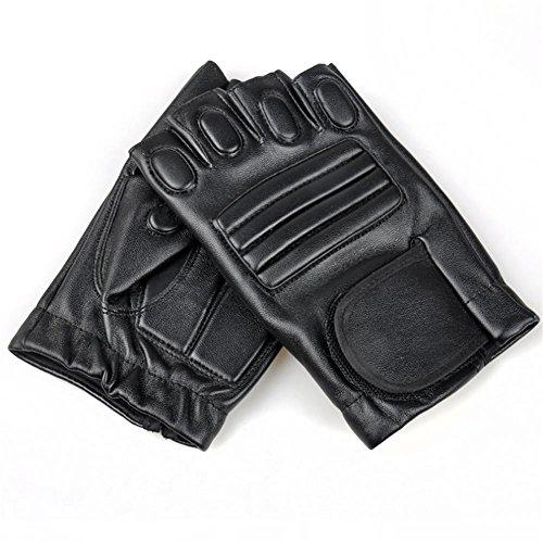 PLYY Semi Finger Handschuhe Anti-Rutsch-Schutz Reiten Taktische Handschuhe Kampf Selbstverteidigung Outdoor-Bergsteigen Leder Sport Handschuhe
