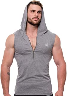 OLUOLIN Men's Casual Hoodie Tank Tops Sleeveless Shirts Workout Hooded Tank Tops Bodybuilding Muscle T Shirt
