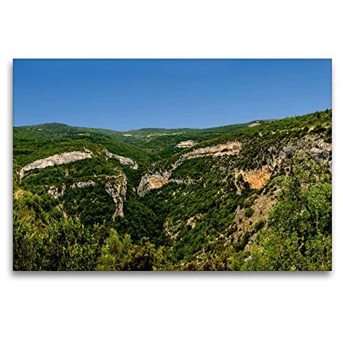 Premium - Lienzo (120 x 80 cm, horizontal), diseño de Gorges de la Nesque y son hasta 400 m de profundidad. (CALVENDO Orte);CALVENDO Orte