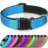Joytale Reflective Dog Collar,Soft Neoprene Padded Breathable Nylon Pet Collar Adjustable for Medium Dogs,Sky Blue,M