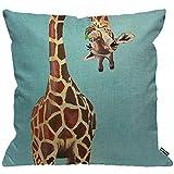HGOD Designs Funda de cojín divertida con diseño de jirafa, color azul, funda de almohada decorativa para el hogar para hombres y mujeres, sala de estar, dormitorio, sofá, silla de 45 x 45 cm