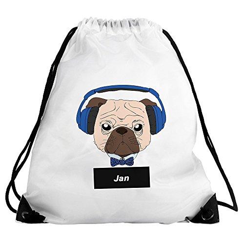 Eurofoto Turnbeutel mit Namen Jan und Mops-Motiv mit Kopfhörer und Fliege für Jungen | Sport-Beutel für Kinder | Gymbag