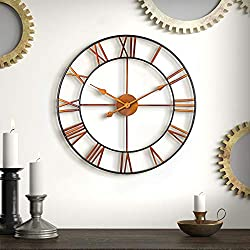 BEW Decor Wall Clock, 24-Inch Oversized Vintage Farmhouse Country Wall Clock with Roman Numerals, Large Silent Battery Operated Metal Iron Wall Clock for Home, Living Room, Kitchen (Gradients-Golden)