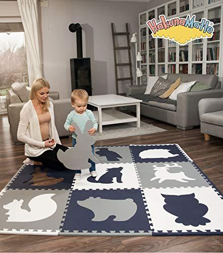 Hakuna Matte große Puzzlematte für Babys 1,8x1,8m – 9 XXL Platten 60x60cm mit Tieren – 20% dickere Spielmatte in Einer umweltfreundlichen Verpackung – schadstofffreie, geruchlose Krabbelmatte