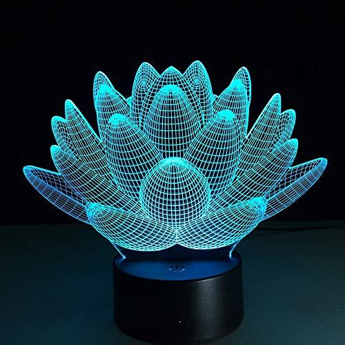 Luz de noche LED Lotus 3D Luces navideñas, el color cambia constantemente, toque el botón, iluminación de la sala de estar de los niños, luces de decoración del dormitorio de los niños