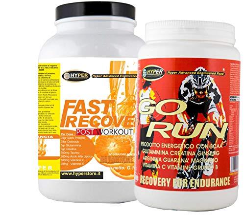 Suplementos de ciclismo Potente energetico GO RUN gr 1000 + FAST RECOVER Post Workout 1500 gr Promueve Muscular Ideal Recuperación para el Mantenimiento Whey Dextrosa Greatina Glutamina Taurina