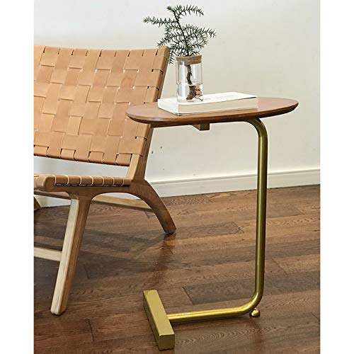 Side End Table Living Room Sofa Laptop C Shaped Couch Side Table with Wooden Top Snack Side End Table for Coffee Sofa Living Room Bedroom Couch Table (Color : Brown)