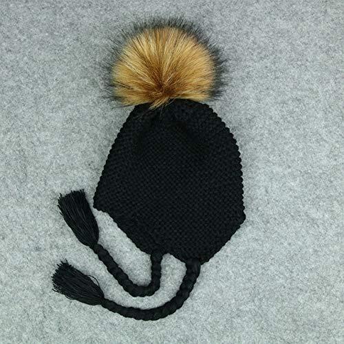 OKZYT Cálido Invierno Sombrero Infantil del niño del bebé de los niños Caliente de Punto de Ganchillo Beanie Hat Cap (Negro) (Color : Black)