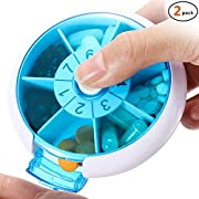 Weekly Pill Box Medicine Organizer - 2 Pack Convenient 7 Day Pill Case Holder with Push Button Rotation Design Home Travel Portable Medication Dispenser Detachable Medicine Storage Container Reminder