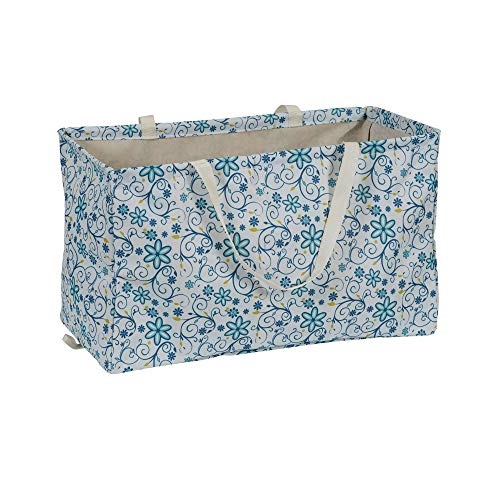 Household Essentials 2244 Krush Canvas Utility Tote | Reusable Grocery Shopping Laundry Carry Bag | White With Floral Design, 22' L X 11' W X 13' H