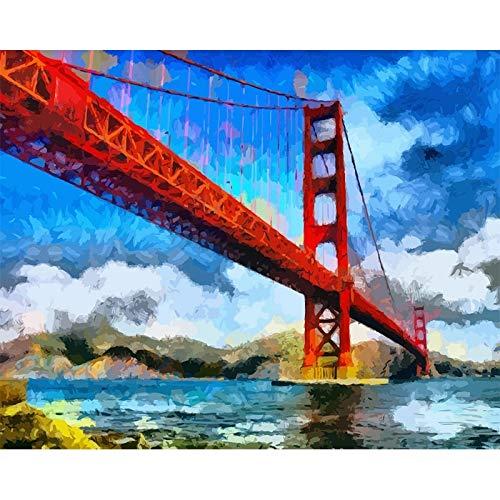 JHGJHK Arquitectura Puente Arte Pintura al leo Abstracta Sala de Estar Dormitorio Decoracin Pintura