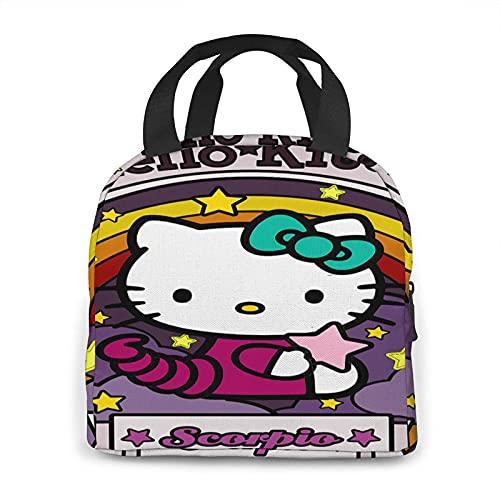NIUPEE Lonchera Hello Kitty - Bolsa de almuerzo con aislamiento térmico para hombres, mujeres, adolescentes, bolsa de almacenamiento para embalar el almuerzo