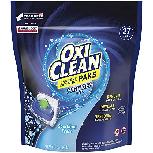 OxiClean High Def Clean Sparkling Fresh Laundry Detergent Paks, 27 Count