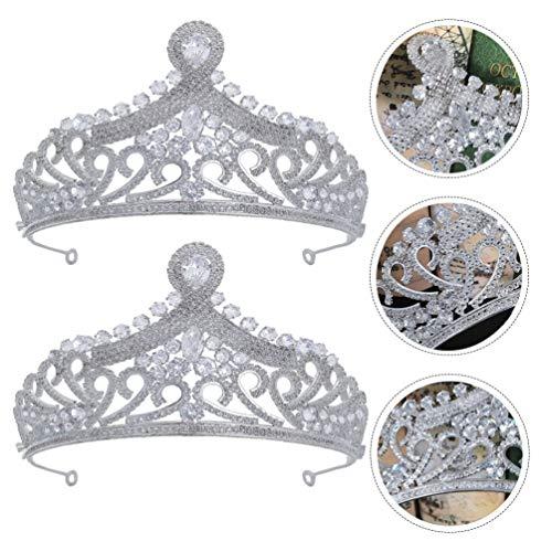 Lurrose Corona de Novia Corona de Tiara de Cristal Corona de Circón...