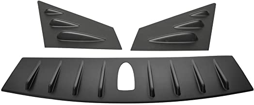 Window Louver & Roof Shark Spoiler Compatible With 2015-2016 Subaru WRX STI | V Style ABS Painted Matte Black Sun Rain Wind Guards Shield Vent by IKON MOTORSPORTS