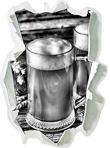 Stil.Zeit Monocrome, Bier Malz Deutsches Bier Bierglas Papier im 3D-Look, Wand- oder Türaufkleber Format: 92x62cm, Wandsticker, Wandtattoo, Wanddekoration