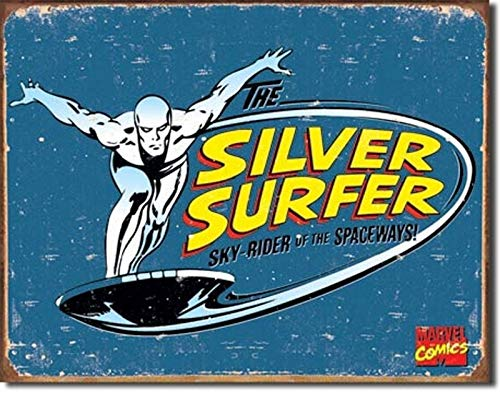 Harvesthouse Silver Surfer Retro Sign 12 x 16 Vintage Retro Rustic Metal Tin Sign Pub Wall Deor Art