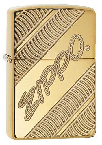 Zippo Armor Coiled Winddichtes Taschenfeuerzeug, Hochglanzpoliertes Messing, Einheitsgröße