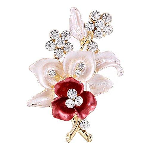 Demiawaking Womens Elegant Flower Brooch Crystal Rhinestone Brooch Pins Diamante Corsage Wedding Bouquet Decor