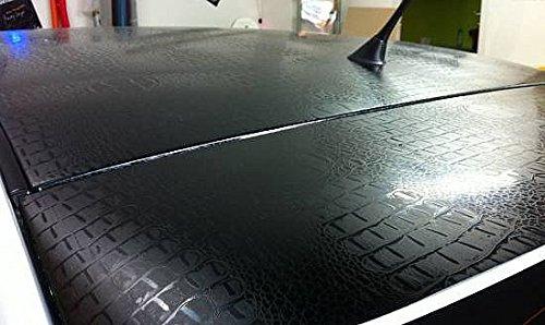 7,9€/m² Auto Folie Schlangenleder Optik - KROKODIL LEDER OPTIK SCHWARZ - 100 x 152 cm blasenfrei selbstklebend flexibel Auto Deko Folie Schutzfolie