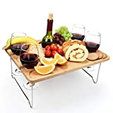 Tirrinia Outdoor Wine Picnic Table, Large Folding Portable Bamboo Snack & Cheese Tray with 4 Wine...