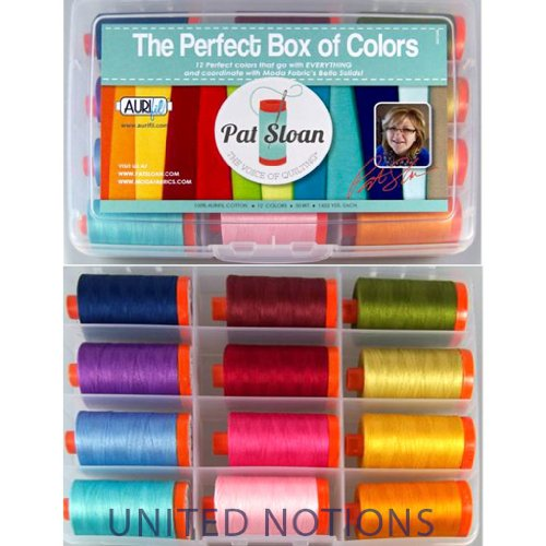 Aurifil Thread Set THE PERFECT BOX OF COLORS By Pat Sloan 50wt Cotton 12 Large (1422 yard) Spools by Aurifil