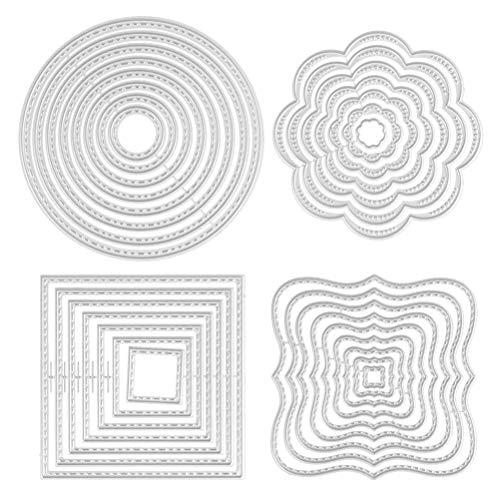 CJMM Stanzformen, Metall, für Album, Scrapbooking, Papier, Karte, Kunst, Handwerk, Kreis, quadratisch, rechteckig