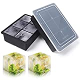 Kootek Large Ice Cube Trays 2 Pack Silicone Ice Cube Molds with Lid 6 Cavity Flexible Ice Mold for Beverages Whiskey Wine Cocktail Coffee Juice