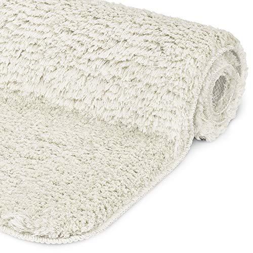 Beautissu Badematte rutschfest BeauMare FL Hochflor Teppich 100x60 cm Weiß - WC Badteppich Flauschige Bodenmatte oder Badvorleger für Dusche, Badewanne und Toilette - für Fußbodenheizung geeignet