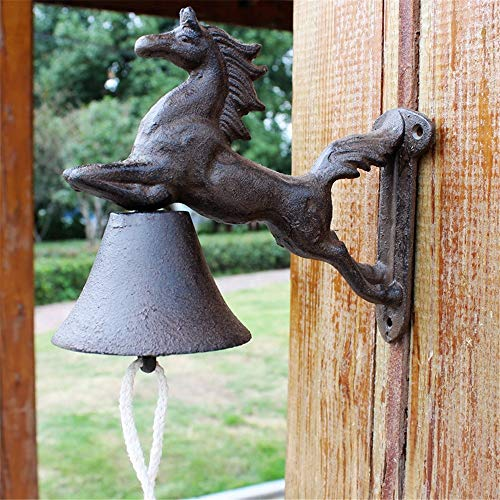 Vintage Bell Cast Iron Wandmontage Vintage Cast Iron Horse deurbel huis wanddecoratie Wall Mounted Voordeur Bell voor Garden Farmhouse Yard (Color : Multi-colored, Size : Free size)