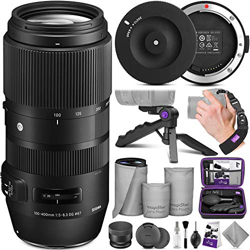 Sigma 100-400mm f/5-6.3 DG OS HSM Contemporary Lens for Canon EF + Sigma USB Dock with Altura Photo Essential Accessory Bundle