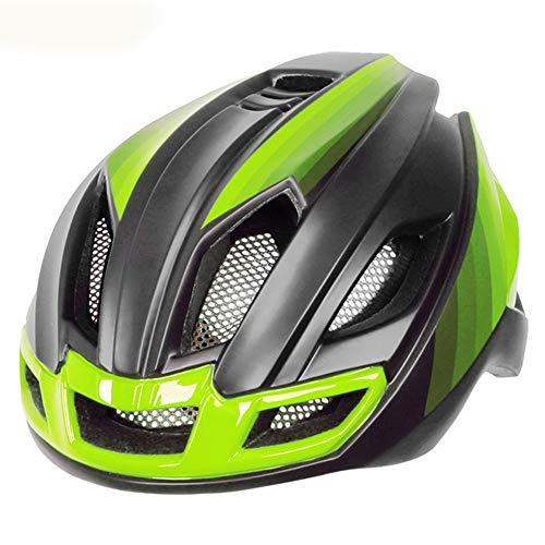 Casque Velo YDHWWSH Casques De Vélo De Route avec Les Hommes De Lumière Arrière Femmes Integrally Molded Bike Helmet Mountain Road Bike Bike MTB Casques 57-61cm Vert
