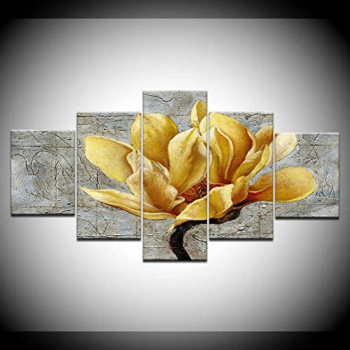 DGGDVP afgedrukte HD-drukte foto´s poster canvas muurkunst afbeeldingen HD 5 panelen gele bloem voor woonkamer huis decoratie schilderij 30x40cmx2 30x60cmx2 30x80cmx1 Geen frame.