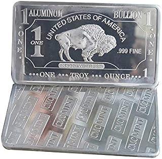 1 oz One Troy Ounce USA American Buffalo .999 Pure Aluminium Bullion Bar Al Element