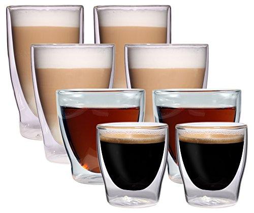 Set van 8 dubbelwandige glazen - 2x 80 ml espresso / 2x 200 ml theeglas / 2x 300 ml latte macchiato / 2x longdrink - verpakt in een set van 2 stuks, Glas-Medley van Feelino