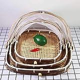Bandejas De Bambú para Servir Alimentos, Platos con Malla para Cubrir Los...