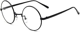 D.King Oversized Vintage Round Retro Large Metal Frame Clear Lens Eyeglasses