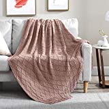Walensee Throw Blanket for Couch, 50 x 60 Dusty Pink, Acrylic Knit Woven Summer Blanket, Lightweight Decorative Soft Nap Throw with Tassel for Chair Bed Sofa Travel Picnic, Suitable for All Seasons