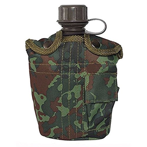 GOURDE 1 LITRE AVEC HOUSSE PROTECTION CAMO CAMOUFLAGE FLECKTARN MILTEC 14505021 AIRSOFT