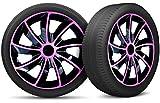 moto-MOLTICO Auto Radkappen Radzierblenden 4er Set passend für alle Stahlfelgen - Einstellbarer Sicherungsring - 15 Zoll - Schwarz Rosa Pink