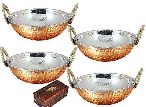 SKAVIJ Heat Insulated Double Wall Karahi Copper Stainless Steel Serving Bowl (0.35 Litre, Pack of 4)