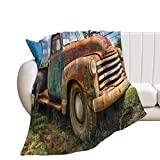XYHH Rusty Chevy Truck Flannel Blanket for Twin Bed Living Room Bedroom Sofa Beach Camping Cold Cinema Travel Air-Conditioned Room car Throw Blankets fhw 60'×80'