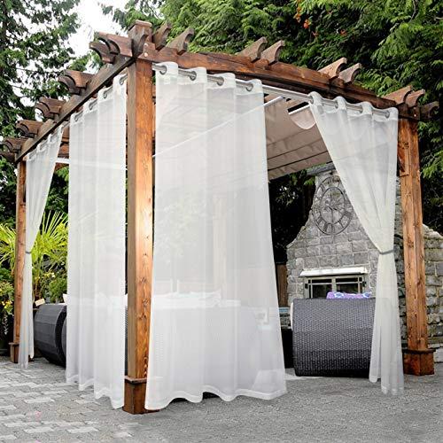BONZER Waterproof Indoor/Outdoor Sheer Curtains for Patio - Grommet Voile Curtains for Living Room, Bedroom, Porch, Pergola, Cabana, Set of 2 Panels, 52 x 84 inch, Beige