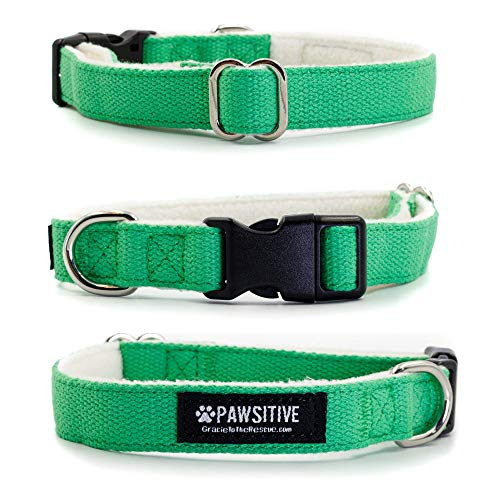 Pawsitive Hemp Dog Collar - We Donate a Collar for Every Collar Sold. Help a shelter in Need! Solid Color Adjustable Collar Great for Small, Medium and Large Dogs (Medium Green)