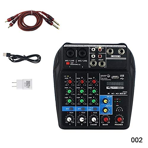 MAyouth Bluetooth Mini USB Audio Mixer Amplificatore Amp Bluetooth Board 48 V Phantom Power 4 Canali Mixer Audio Professionale per DJ Karaoke