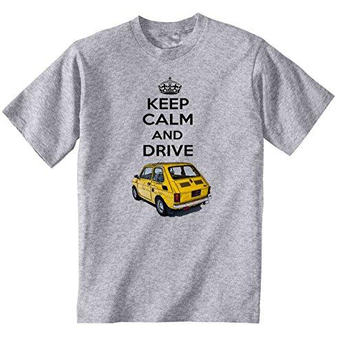 TEESANDENGINES Fiat 126 P Keep Calm 1 Tshirt di Cotone da Uomo Grigio Size Large