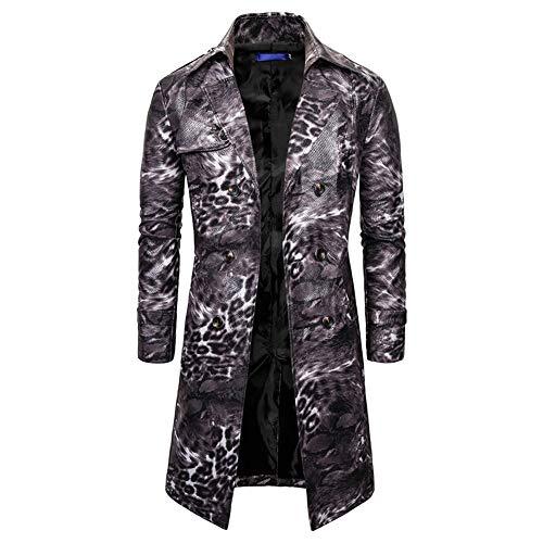 WTSXXN Herren Mantel-Winter-Lange Jacke Parka Overcoat zweireihiger Trenchcoat Vintage-Mischung Overcoat Leopard Druck Cosplay Outwear,B,XL