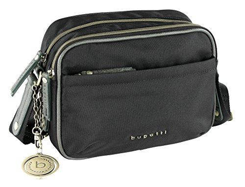 bugatti Contratempo RFID kleine Nylon Schultertasche für Damen - edle Umhängetasche in schwarz