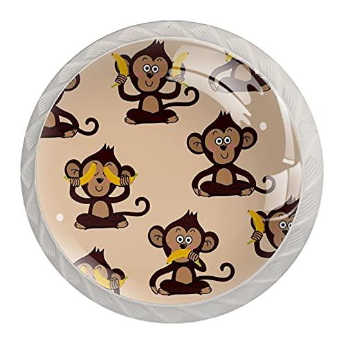Cute Monkey - Set di 4 pomelli in resina ABS per armadietti da cucina, con stampa rotonda, per cassetti e maniglie per armadietti