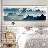 現代の新しい中国の壁の芸術風景山ポスター画像キャンバス絵画リビングルームの家の装飾のための壁の芸術30x90cmフレームレス